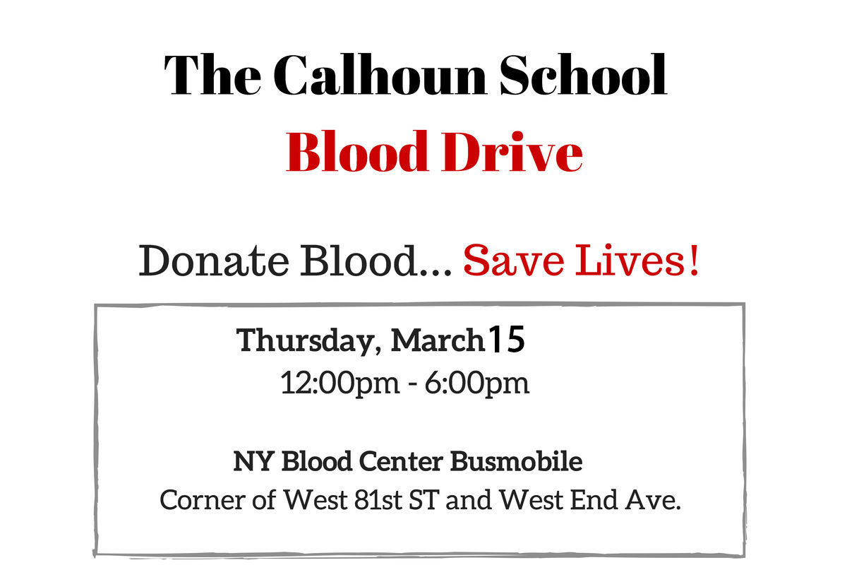 Calhoun Annual Blood Drive, March 15